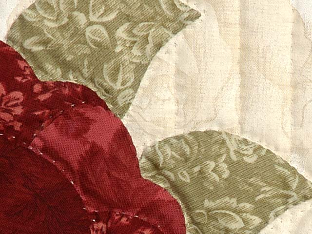 Tan Burgundy Rose and Moss Lancaster Treasures Quilt Photo 6