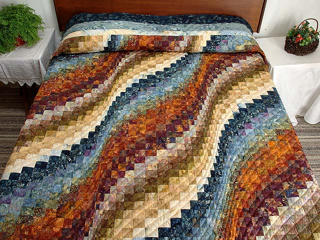 King Blues Bronze and Gold Bargello Wave Quilt Photo 1