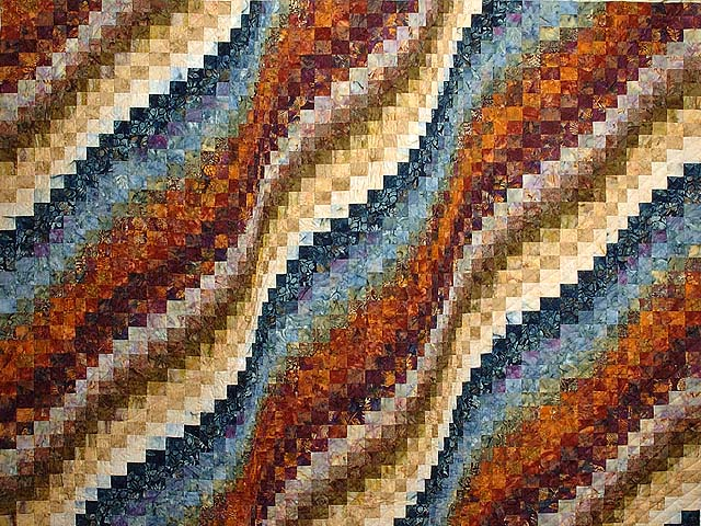 King Blues Bronze and Gold Bargello Wave Quilt Photo 3