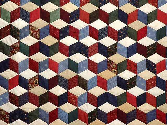 King Navy Tan and Multi Tumbling Blocks Quilt Photo 4