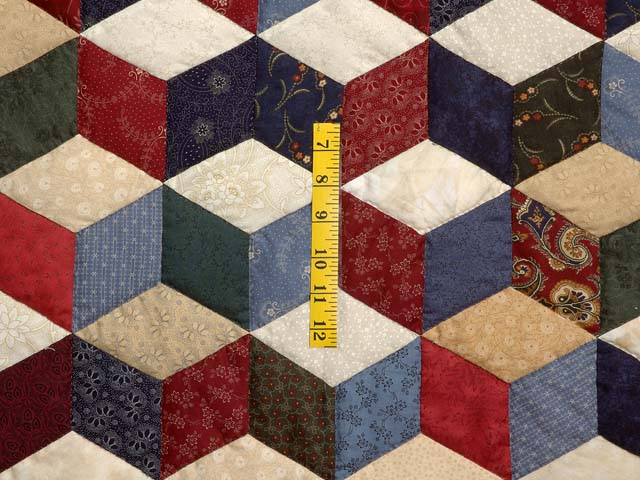 King Navy Tan and Multi Tumbling Blocks Quilt Photo 5