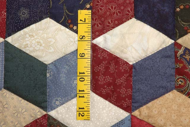 King Navy Tan and Multi Tumbling Blocks Quilt Photo 6
