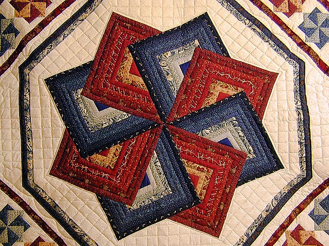Navy and Burgundy Star Spin Quilt Photo 3
