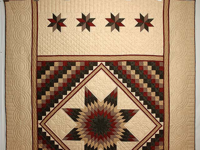 Dark Green Red and Tan Extra Fine Lone Star Trip Quilt Photo 2