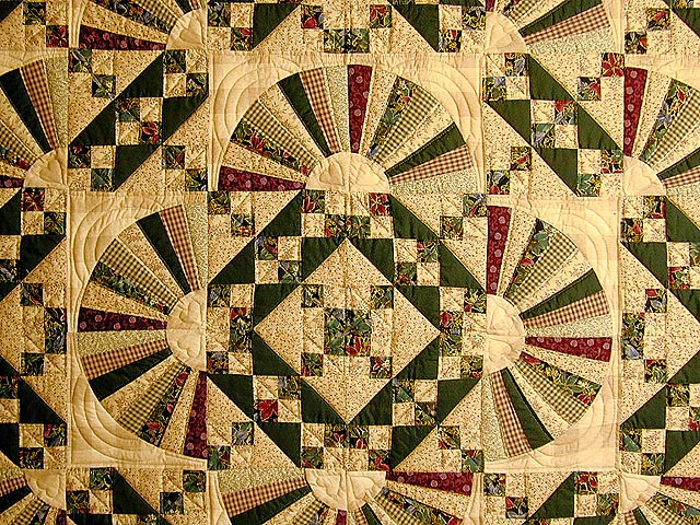 Green and Burgundy Jacobs Ladder Quilt Photo 3