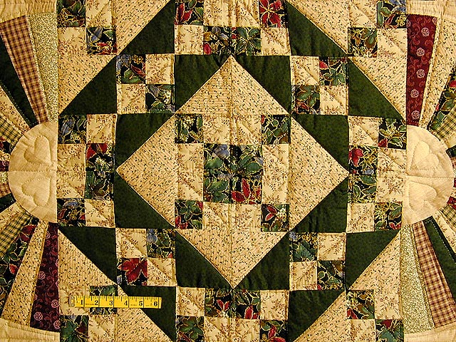 Green And Burgundy Jacobs Ladder Quilt Photo 4