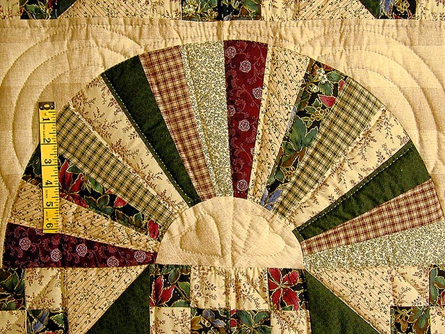 Green and Burgundy Jacobs Ladder Quilt Photo 5