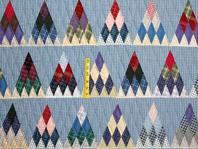 Plaid Navy Blue and Multi Thousand Pyramids Quilt Photo 4