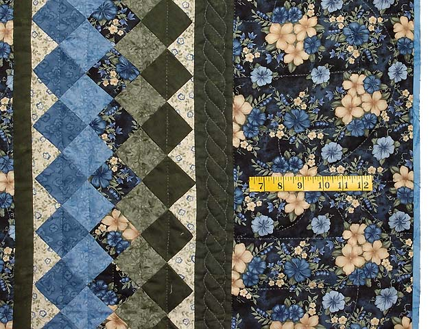 Blue Cream and Dark Green Commons Star Medallion Quilt Photo 7