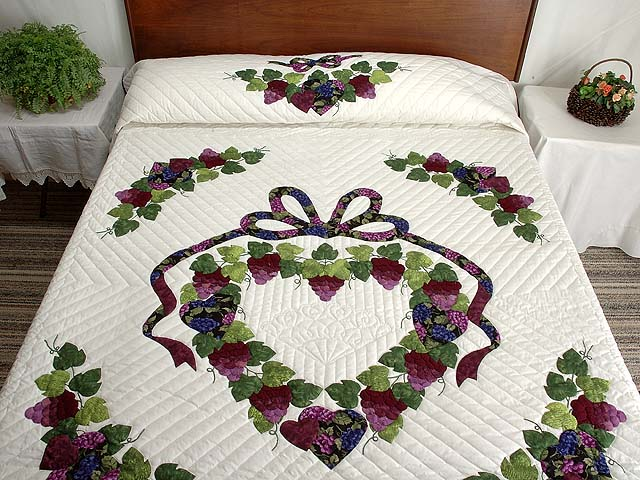 Burgundy Green and Cream Love in the Vineyard Quilt Photo 1