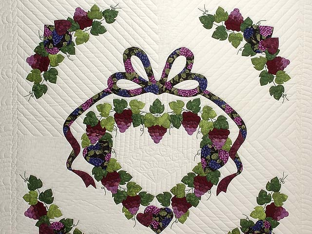 Burgundy Green and Cream Love in the Vineyard Quilt Photo 3