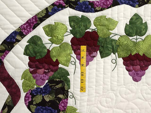 Burgundy Green and Cream Love in the Vineyard Quilt Photo 4