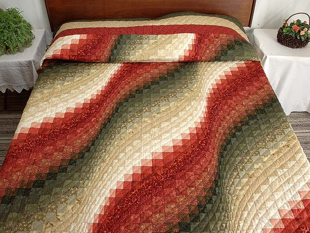 Coral Moss and Tan Bargello Wave Quilt Photo 1