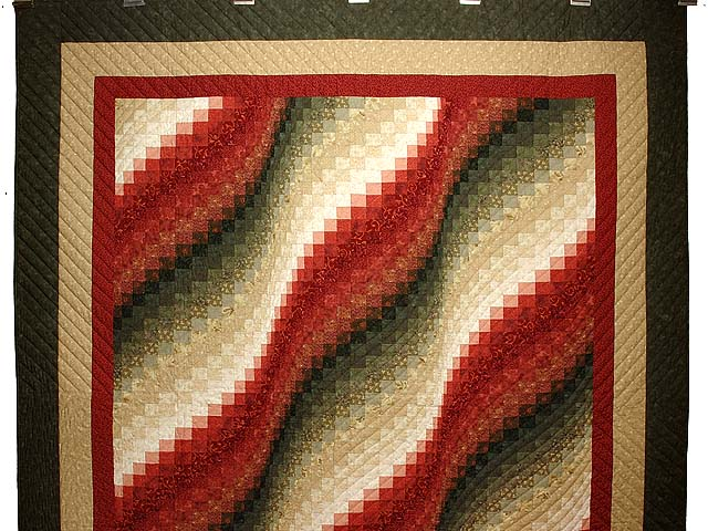 Coral Moss and Tan Bargello Wave Quilt Photo 2