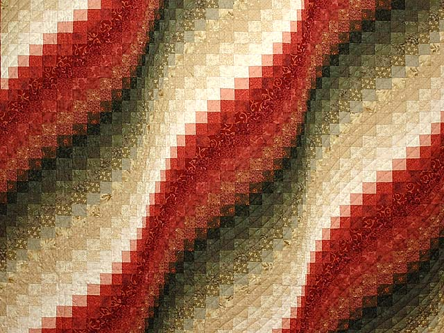 Coral Moss and Tan Bargello Wave Quilt Photo 3