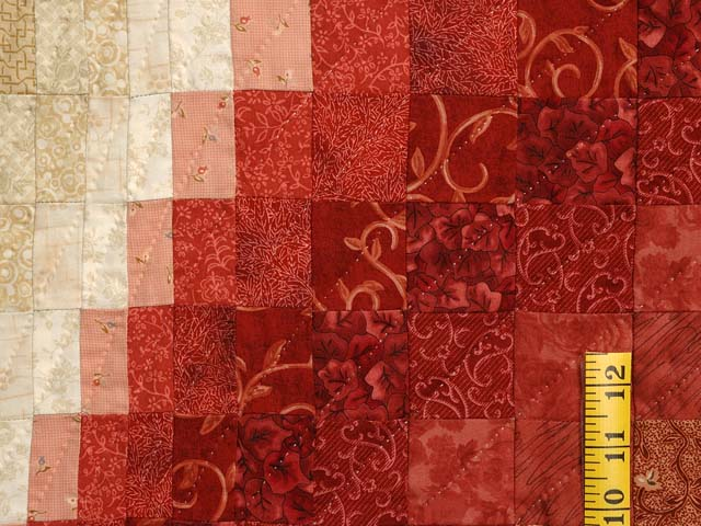 Coral Moss and Tan Bargello Wave Quilt Photo 5