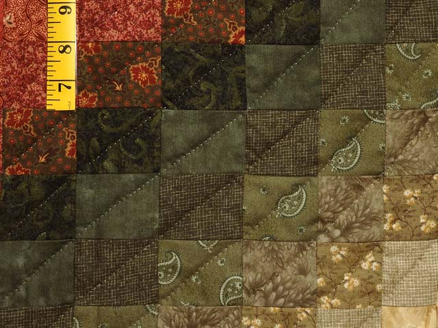 Coral Moss and Tan Bargello Wave Quilt Photo 6