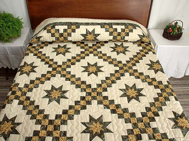 Marble and Gold Star Irish Chain Quilt Photo 1