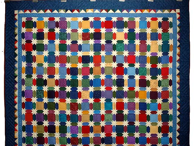 Blue and Multicolor Starry Night Quilt Photo 2