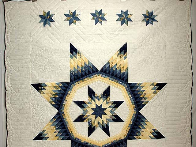 Navy Blue and Yellow Royal Star of Maryland Quilt Photo 2