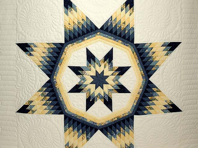 Navy Blue and Yellow Royal Star of Maryland Quilt Photo 3