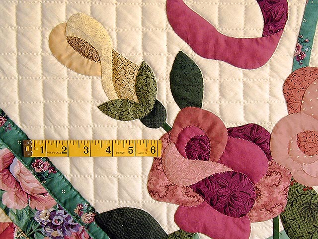 Green and Rose Garden Basket Applique Quilt Photo 4
