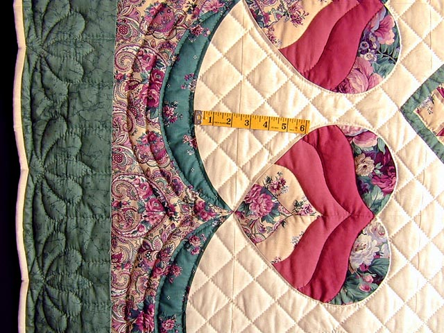 Green and Rose Garden Basket Applique Quilt Photo 6
