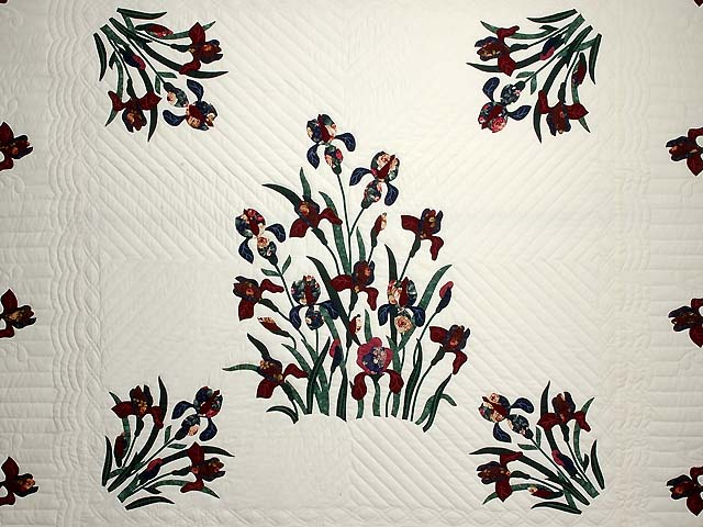 Burgundy and Navy Iris Applique Quilt Photo 3