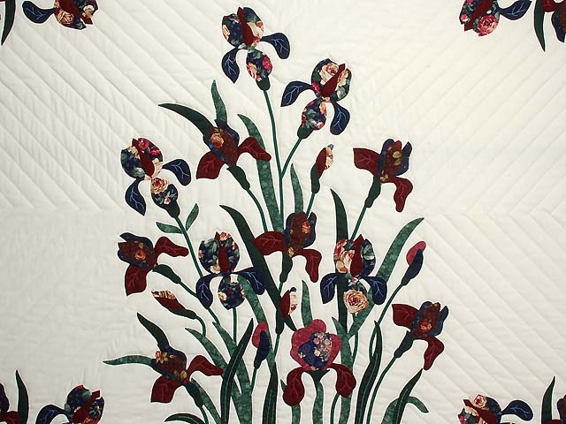 Burgundy and Navy Iris Applique Quilt Photo 4