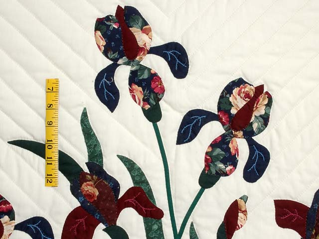 Burgundy and Navy Iris Applique Quilt Photo 5