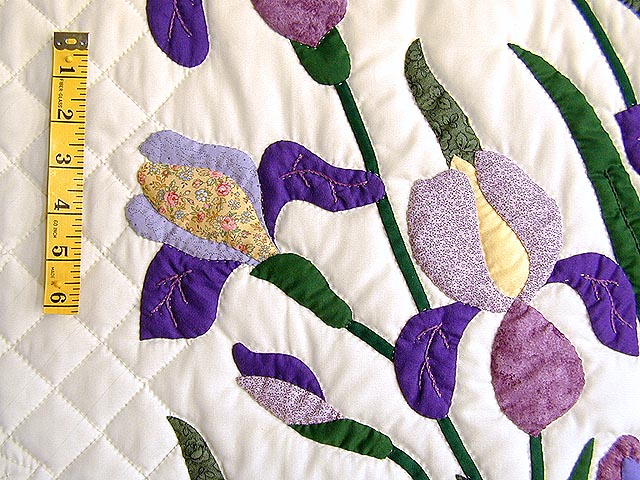 Purple and Yellow Iris Applique Quilt Photo 6