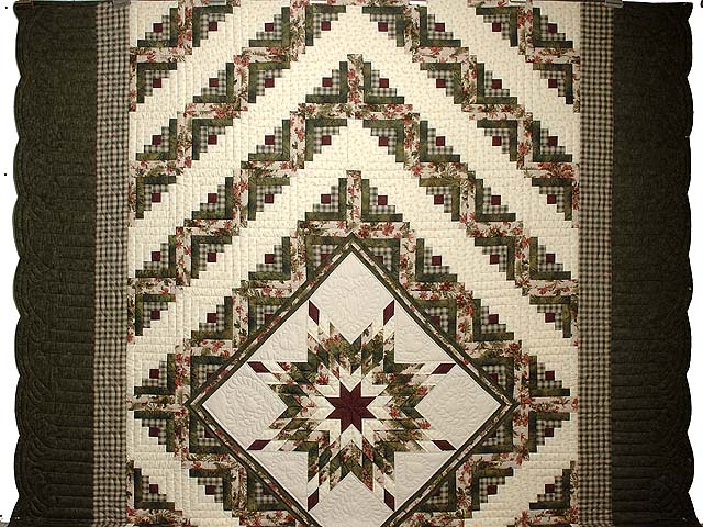 King Green Cream and Burgundy Lone Star Log Cabin Quilt Photo 2