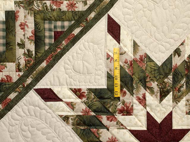 King Green Cream and Burgundy Lone Star Log Cabin Quilt Photo 4