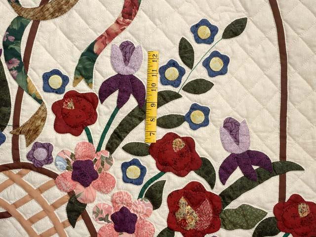 Dark Green Burgundy and Multicolor Garden Basket Quilt Photo 4
