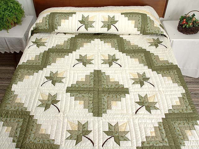 Green Gold and Yellow Cabin Splendor  Quilt Photo 1