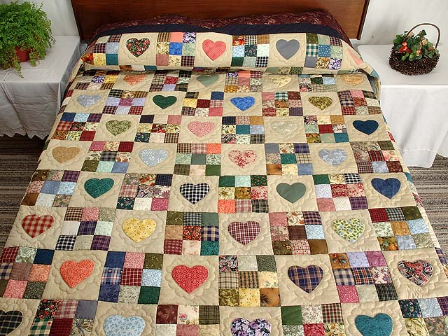 Plum Navy and Multicolor Hearts and Nine Patch Quilt Photo 1
