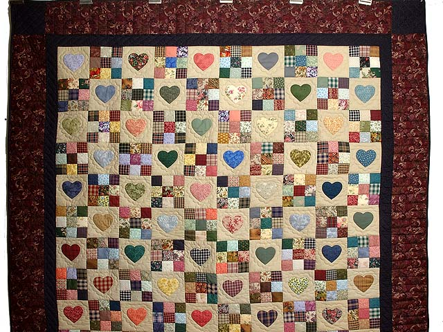 Plum Navy and Multicolor Hearts and Nine Patch Quilt Photo 2