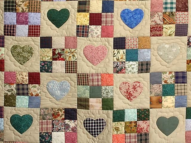 Plum Navy and Multicolor Hearts and Nine Patch Quilt Photo 3