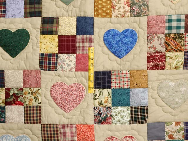 Plum Navy and Multicolor Hearts and Nine Patch Quilt Photo 4
