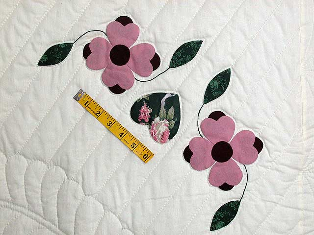Pink and Green Dogwood Applique Quilt Photo 6
