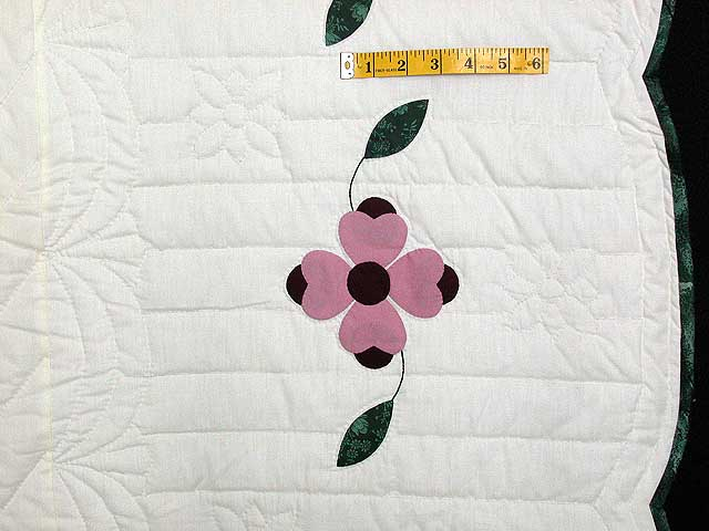 Pink and Green Dogwood Applique Quilt Photo 7