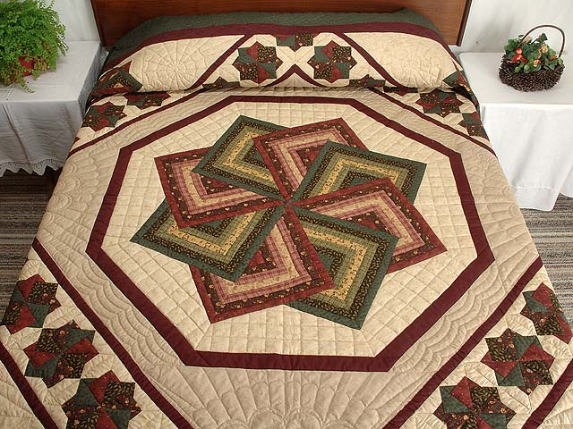 Green Burgundy and Tan Star Spin Quilt Photo 1