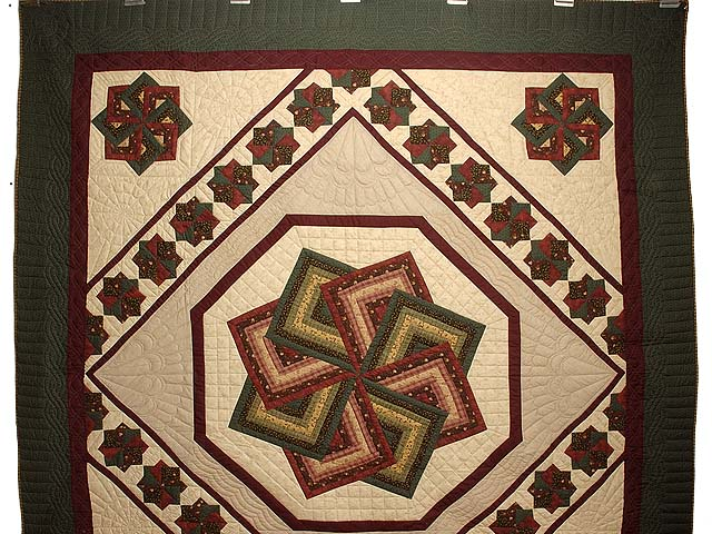 Green Burgundy and Tan Star Spin Quilt Photo 2