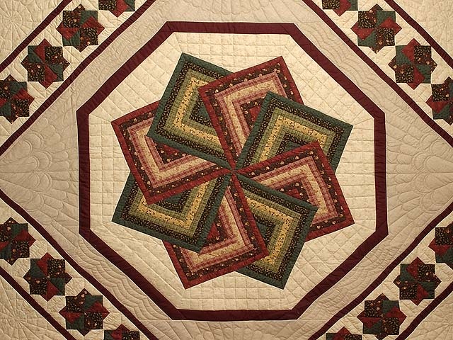 Green Burgundy and Tan Star Spin Quilt Photo 3