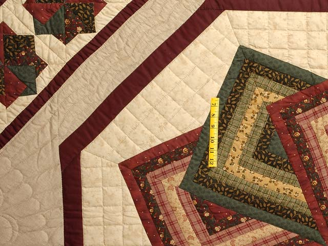Green Burgundy and Tan Star Spin Quilt Photo 4