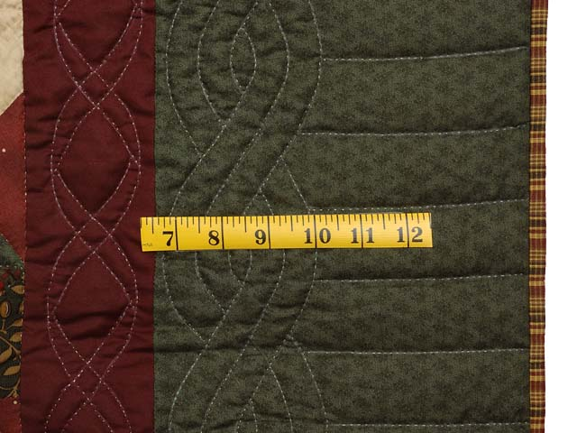 Green Burgundy and Tan Star Spin Quilt Photo 6