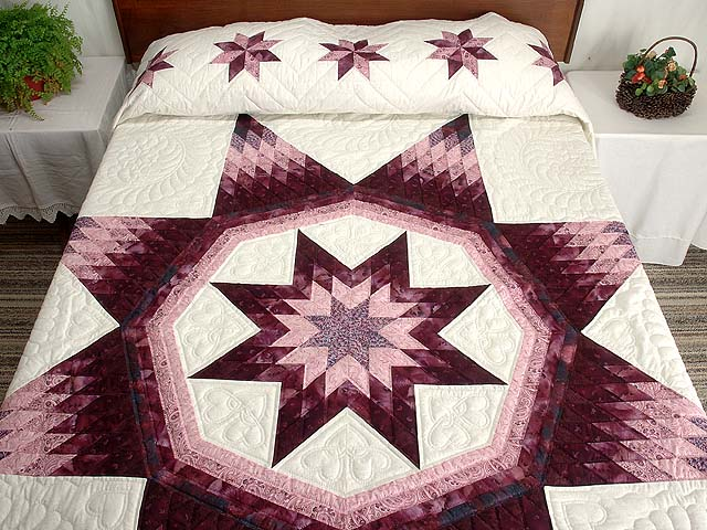 Plum and Lavender Royal Star of Maryland Quilt Photo 1