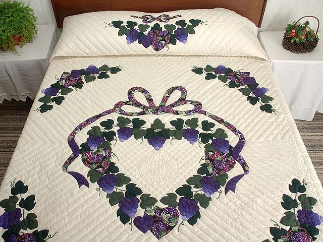 Purple and Green Love in the Vineyard Quilt Photo 1