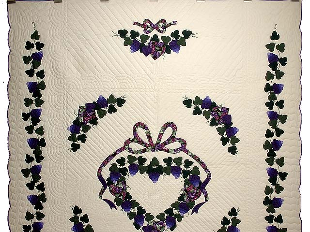 Purple and Green Love in the Vineyard Quilt Photo 2