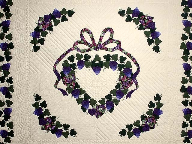 Purple and Green Love in the Vineyard Quilt Photo 3